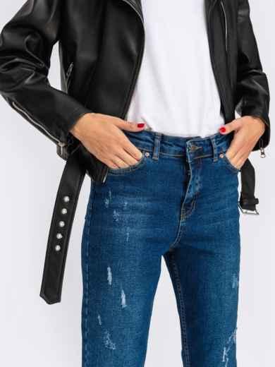 Укороченные джинсы-мом с завышенной талией синие - 41901, фото 3 – интернет-магазин Dressa