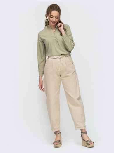 Зеленая блузка свободного кроя из софта на пуговицах 46902, фото 3