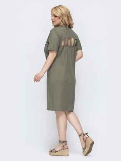 Платье-рубашка большого размера на кнопках хаки 46088, фото 2