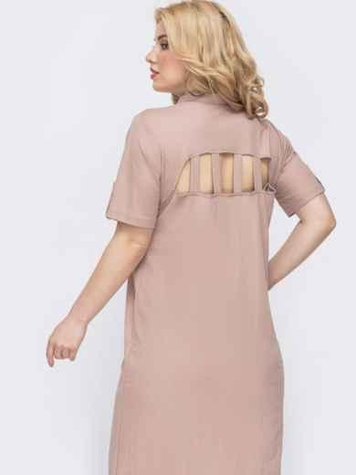 Платье-рубашка большого размера на кнопках пудровое 46325, фото 2