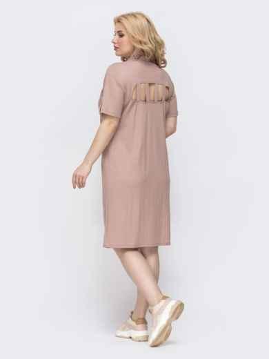 Платье-рубашка большого размера на кнопках пудровое 46325, фото 3