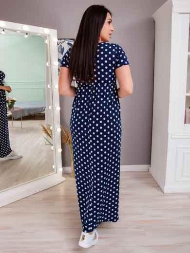 Приталенное платье-макси большого размера в горох тёмно-синее 48396, фото 3