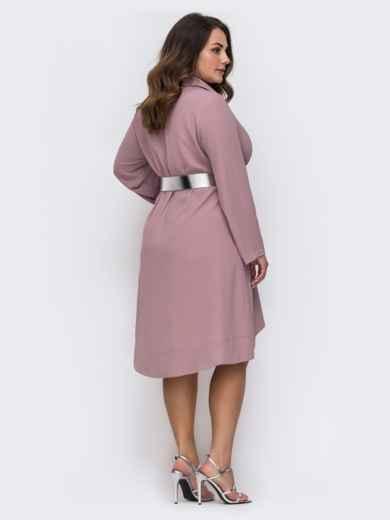 Пудровое платье батал свободного кроя с удлиненной спинкой 49701, фото 2