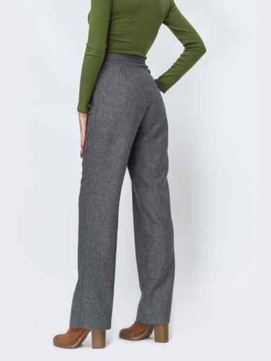 Серые брюки прямого кроя в клетку - 44146, фото 2 – интернет-магазин Dressa