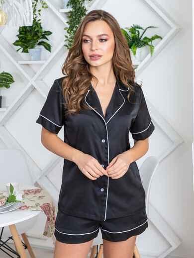 Шелковая пижама с окантовкой на рубашке и шортах чёрная - 20712, фото 1 – интернет-магазин Dressa