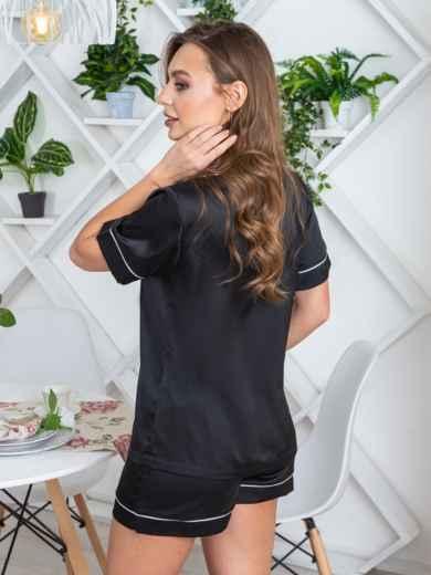 Шелковая пижама с окантовкой на рубашке и шортах чёрная - 20712, фото 2 – интернет-магазин Dressa
