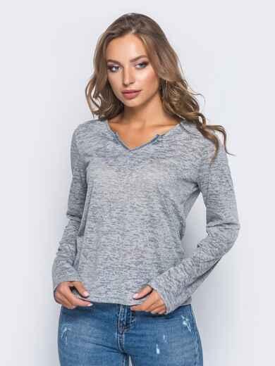 Свитшот из вискозы с v-образным вырезом серый - 12615, фото 1 – интернет-магазин Dressa