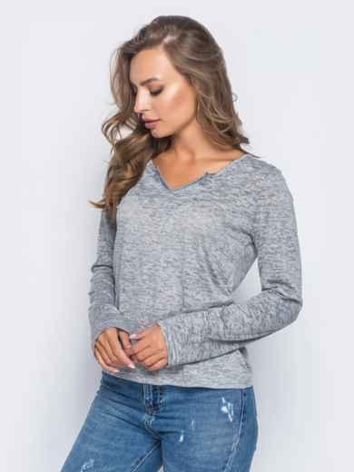 Свитшот из вискозы с v-образным вырезом серый - 12615, фото 2 – интернет-магазин Dressa