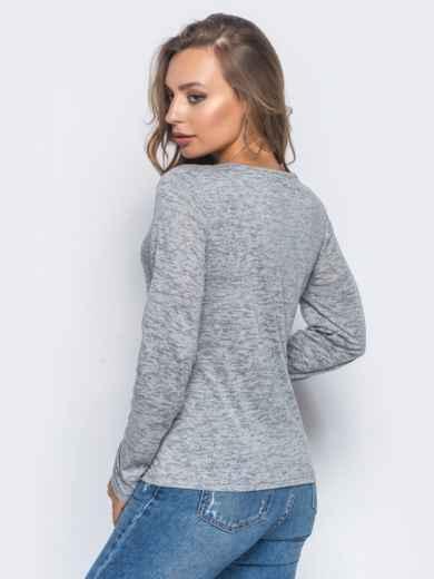 Свитшот из вискозы с v-образным вырезом серый - 12615, фото 3 – интернет-магазин Dressa
