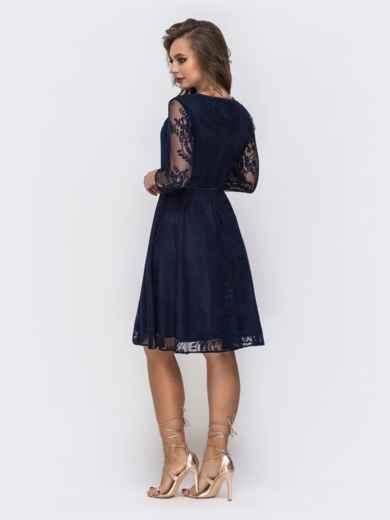 Тёмно-синее платье из гипюра с расклешенной юбкой - 43039, фото 2 – интернет-магазин Dressa
