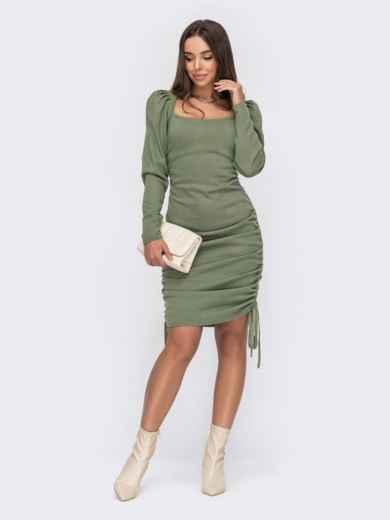 Зелёное платье из трикотажа с кулисками по бокам 53027, фото 1