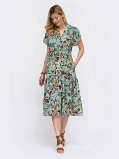 Зелёное платье в цветочный принт свободного кроя 48048, фото 2