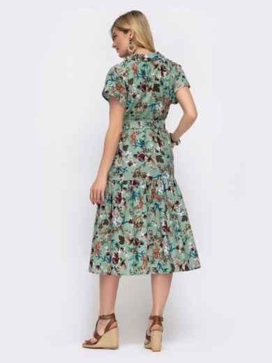 Зелёное платье в цветочный принт свободного кроя 48048, фото 3