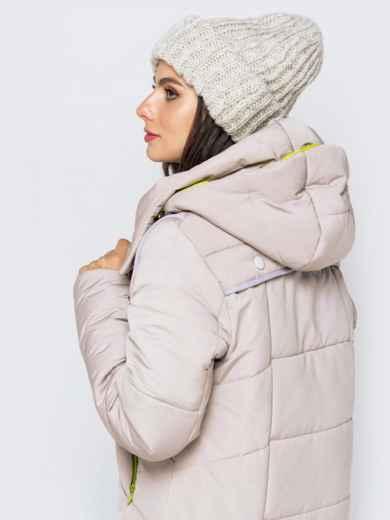 Зимняя куртка бежевого цвета с капюшоном на кулиске - 40141, фото 4 – интернет-магазин Dressa