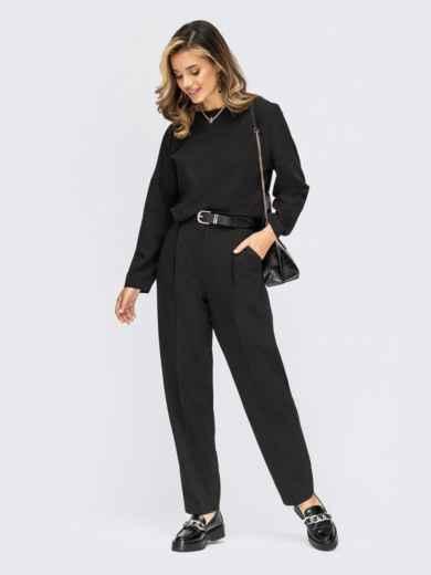 Брючный костюм со свободной блузкой черный 55196, фото 1