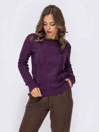 """Ажурный свитер с вырезом """"лодочка"""" фиолетовый - 41166, фото 2 – интернет-магазин Dressa"""