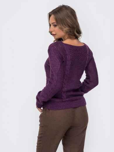 """Ажурный свитер с вырезом """"лодочка"""" фиолетовый - 41166, фото 3 – интернет-магазин Dressa"""