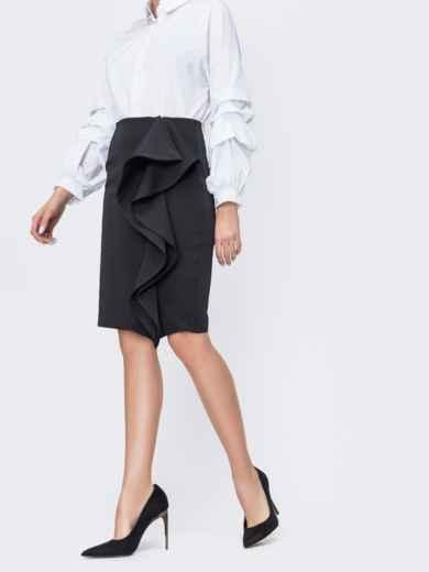 Чёрная юбка-карандаш с рюшами по полочке 45035, фото 1
