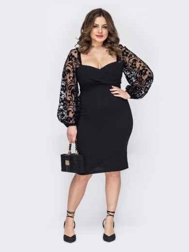 Черное платье батал с фигурным лифом 53210, фото 1