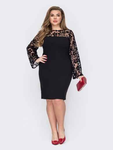 Черное платье батал с кокеткой и рукавами из сетки 53207, фото 1
