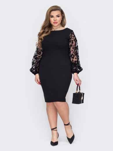 Черное платье батал с рукавами из сетки и вырезом на спинке 53208, фото 1