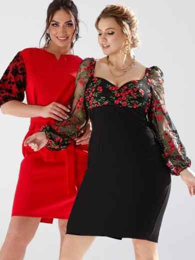Черное платье батал с вышивкой на лифе и рукавах 53209, фото 1