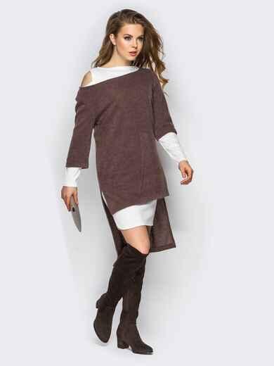 Двойное платье с открытыми плечами и удлиненной спинкой коричнево-белое - 11147, фото 1 – интернет-магазин Dressa