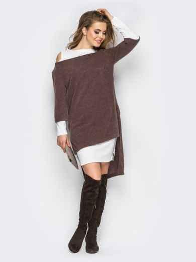 Двойное платье с открытыми плечами и удлиненной спинкой коричнево-белое - 11147, фото 2 – интернет-магазин Dressa