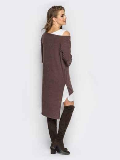 Двойное платье с открытыми плечами и удлиненной спинкой коричнево-белое - 11147, фото 3 – интернет-магазин Dressa