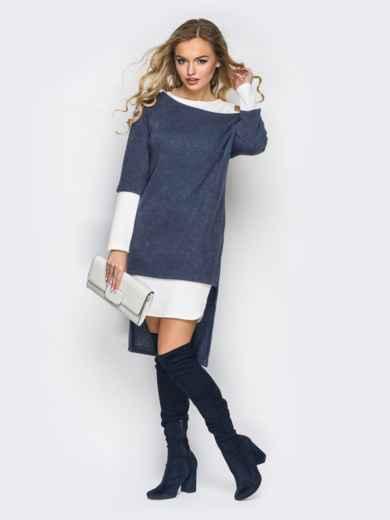 Двойное платье с открытыми плечами и удлиненной спинкой серо-белое - 11146, фото 2 – интернет-магазин Dressa