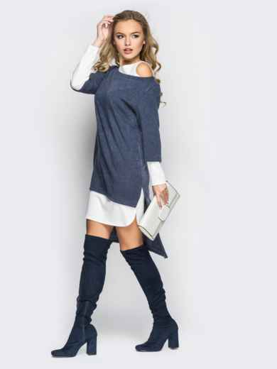 Двойное платье с открытыми плечами и удлиненной спинкой серо-белое - 11146, фото 3 – интернет-магазин Dressa