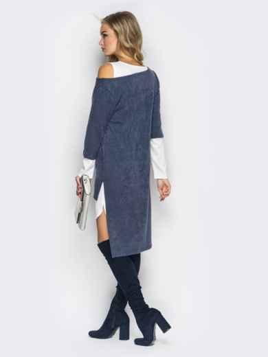 Двойное платье с открытыми плечами и удлиненной спинкой серо-белое - 11146, фото 4 – интернет-магазин Dressa