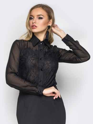 Классическая шифоновая блузка с французским кружевом черная - 10142, фото 1 – интернет-магазин Dressa