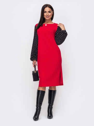 Красное платье батал с рукавами из софта в горох 52648, фото 1