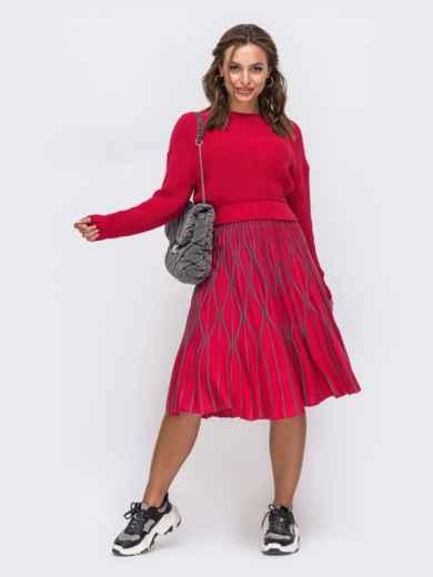 Красный комплект с расклешенной юбкой с узором 50445, фото 1