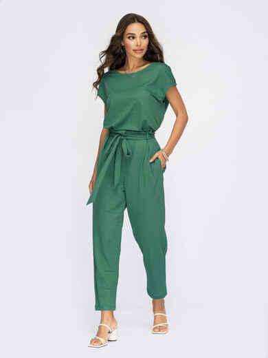 Льняной костюм-двойка с брюками зеленый 54281, фото 1