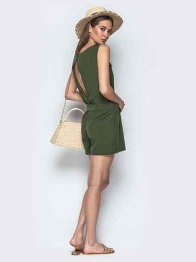 Монохромный комбинезон с вырезом по спине хаки - 21503, фото 4 – интернет-магазин Dressa