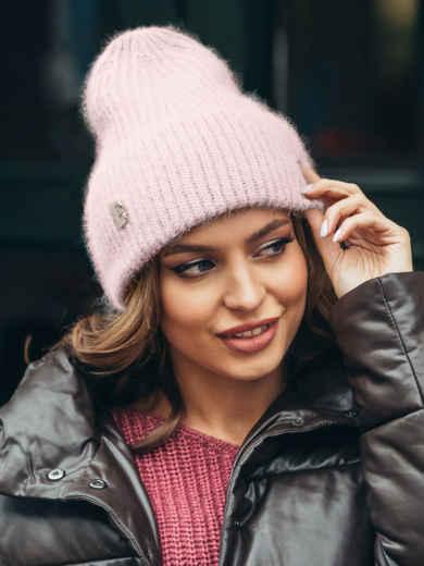 Пудровая шапка-бини из шерсти на флисе 51947, фото 1