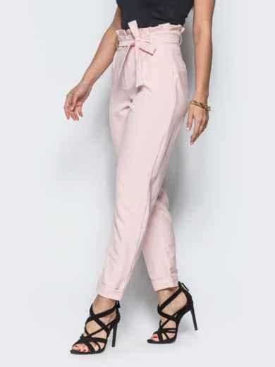 Розовые брюки с рюшей на поясе  12765, фото 2