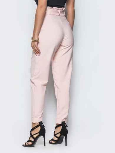 Розовые брюки с рюшей на поясе  12765, фото 3