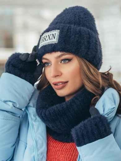 Темно-синий комплект-тройка из шапки на флисе с перчатками 51954, фото 1