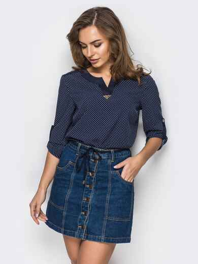 """Тёмно-синяя блузка в принт """"горох"""" с вырезом на горловине - 12403, фото 1 – интернет-магазин Dressa"""