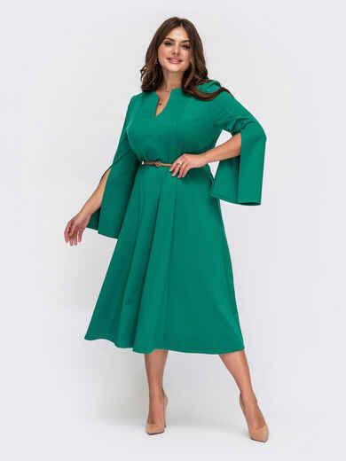 Бирюзовое платье батал из трикотажа с разрезами на рукавах 55563, фото 1