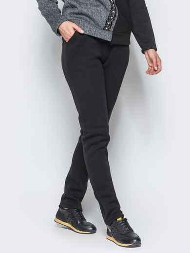 Брюки черного цвета с функциональной змейкой на брючине - 17372, фото 1 – интернет-магазин Dressa