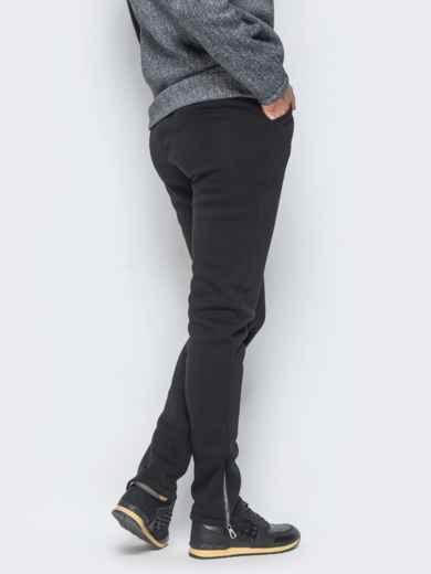 Брюки черного цвета с функциональной змейкой на брючине - 17372, фото 3 – интернет-магазин Dressa