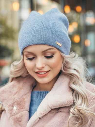 Голубая демисезонная шапка с нитью люрекса 50530, фото 1