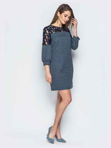 Платье синего цвета с сеткой на рукавах - 19059, фото 2 – интернет-магазин Dressa