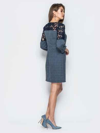 Платье синего цвета с сеткой на рукавах - 19059, фото 3 – интернет-магазин Dressa