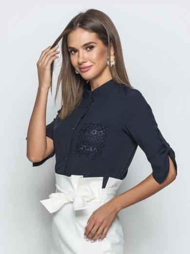 Тёмно-синяя блузка с рукавом 3/4 и накладным карманом 39669, фото 2
