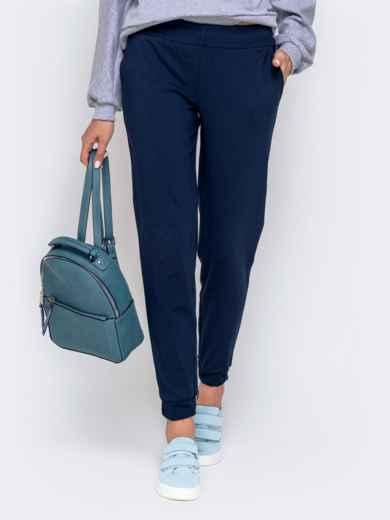 Укороченные брюки-джоггеры тёмного-синего цвета 40556, фото 1